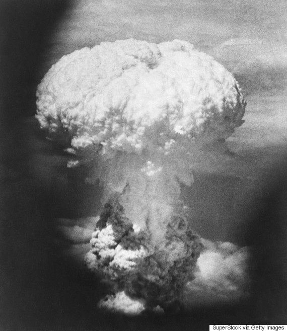 Aerial view of a mushroom cloud formed by an atomic bomb explosion, Hiroshima, Japan, August 6, 1945
